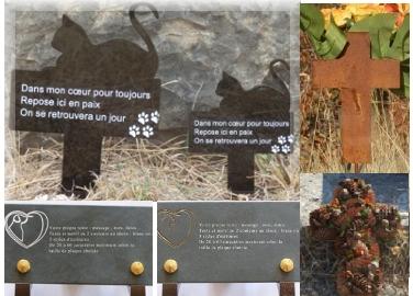 Plaques funéraires pour animaux et croix