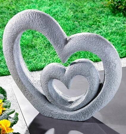 pierre tombale animal double coeur