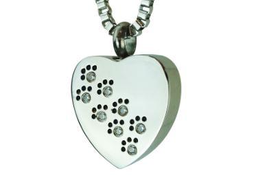 Pendentif cœur avec empreintes de patte