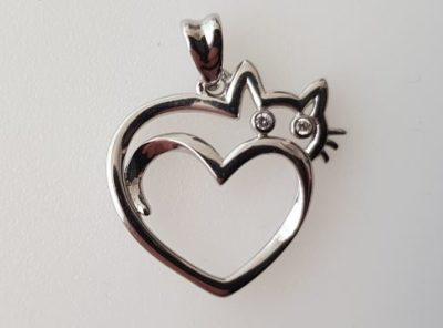Bijou forme chat et coeur