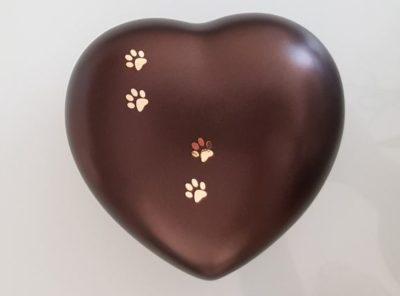 Urne chat en forme de coeur
